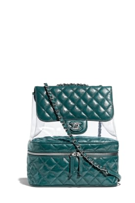 c2925a8a414d 18S-A57825-Y83551-4B887 Green quilted leather and transparent PVC  backpack.jpg
