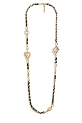 AB2582-Y47893-Z9088 Necklace in golden metal, black leather and glass beads.jpg
