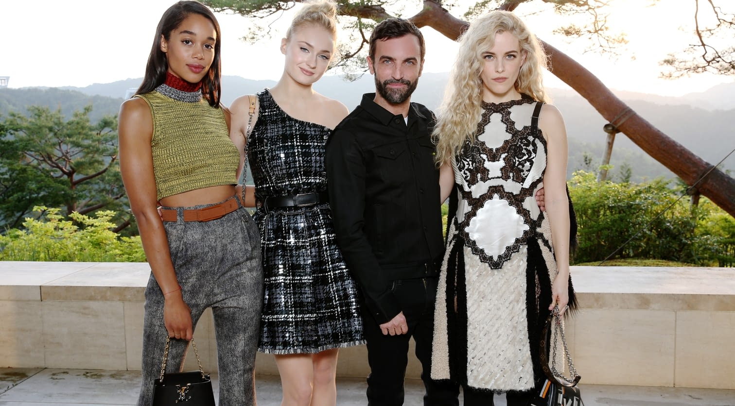 Laura Harrier, Sophie Turner, Nicolas Ghesquiere, Riley Keough.jpg